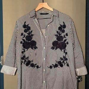 Zara Women Oversized Patterned Button Down